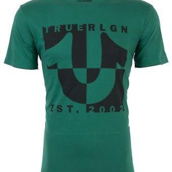 Licensed Official TRUE RELIGION Mens T-Shirt HORSESHOE SPLIT Green w Black Print $69 Jeans NWT