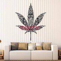 The Leaf Mandala - Trippy Wall Sticker - CannaDecor - White or Black Available