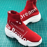 Balenciaga Speed Stretch Knit Mid Sneakers Red Speed Trainers - Best Online Sale