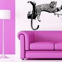 Wall Decor Vinyl Decal Sticker Wild Animals Cheetah Leopard Relaxing on a Tree Living Room Home Interior Design Kg869