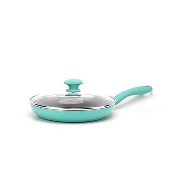 """GreenLife Diamond 11"""" Frypan with Lid, Turquoise"""