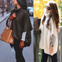 Stand Collar Batwing Sleeve Sweater
