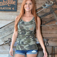 for a fashionable fell wear this camo turkey tank top to show off your a turkey hunting with a dazzling crystal Turkey track print on the pocket