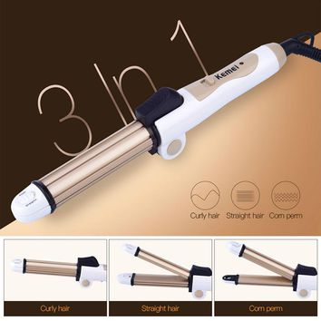 Kemei 3 In1 Electric Wave Hair Straightener Ceramic Straightening Crimper Corrugated Iron Hair Curler Curling Salon Styling Tool