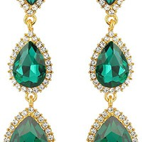 Women's Gold-tone Austrian Crystal Teardrop Pear Shape 2.5 Inch Long Earrings