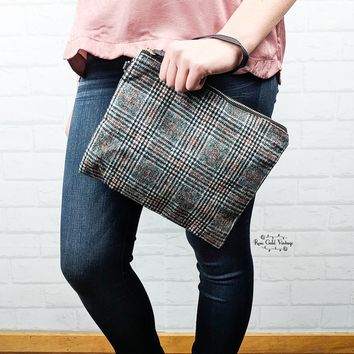 Glen Plaid Clutch Wristlet - Gray