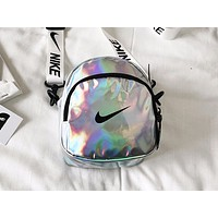 ADIDAS x NIKE x PUMA Hot Selling Fashion Lady Smooth Reflective Single Shoulder Shopping Bag NIKE White
