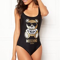 MOSCHINO fashion sells women's sexy casual print one-piece bikinis Black