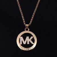 MICHAEL KORS MK New fashion diamond letter personality necklace women Rose Gold