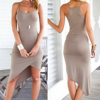 Spagetti Strap Asymmetrical Sun Dress