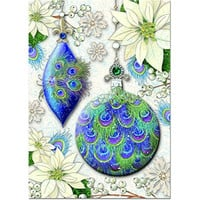Punch Studio Holiday Greeting Cards- #74980 Peacock Ornament