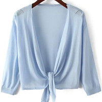 Light Blue Front Tie Crop Knit Cardigan