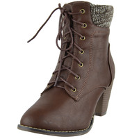 Womens Ankle Boots Knitted Collar Casual Dress Shoes Brown