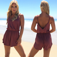 Braids For Days Jersey Romper In Mauve