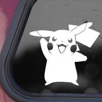 "Pikachu Card Game Sticker Decal Notebook Car Laptop 5"" (White)"