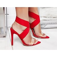Fashion Sandals New Style pointed transparent cross-strap slim high-heeled shoes size 43