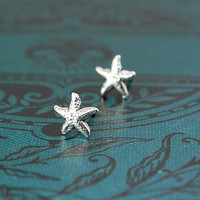 Christmas Stocking Stuffer - Beach Wedding -  Sterling Silver STARFISH dainty stud earrings - Tiny - posts - Sea Life