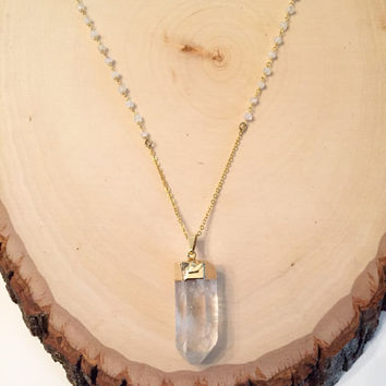 Crystal Quartz Necklace, Gold Edged Crystal, Layer Necklace, Moonstone Rosary Chain, Crystal Point Necklace