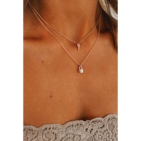 Positivity Is Key Layered Necklace (Rose Gold)