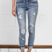 Mid-Rise Distressed Stretch Skinny Jeans {Light Wash}