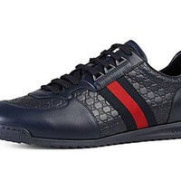 Gucci Men's 'SL 73' Guccissima Leather with Web Detail Sneaker, Navy 233334