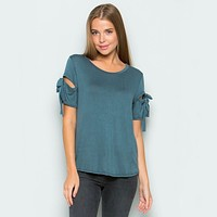 Cut Out Tie Sleeve Tee in More Colors