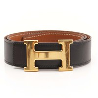 AUTHENTIC HERMES CONSTANCE H BELT BLACK BROWN 80 F GRADE AB USED -AT