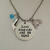 """Cinderella movie inspired necklace """"Have courage and be kind"""" Fairy Godmother hand stamped swarovski crystals charms Disney"""