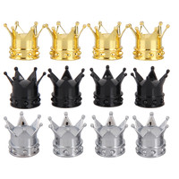 4PCS/Set Crown Bicycle Tyre Wheel Stem Air Valve Caps Tire Valve Auto Truck Bike Car Tyre Tire Cycling Accessories   BHU2