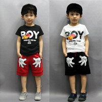 2PCS Toddler Boy Kids Summer casual blouses T-shirt+Shorts Clothes Set 2-7Y