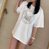 """FENDI"" Woman Casual  Wild Fashion Letter  Cartoon Printing Loose Short Sleeve Tops"