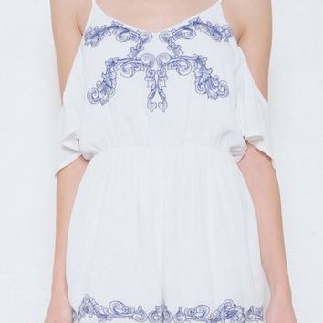 Open Shoulder Embroidered Open Back Romper - Ivory/Blue