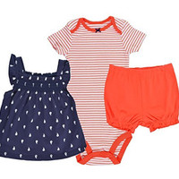 Carters Baby Girls 3-Piece Playwear Set (Nautical Navy Blue Orange)