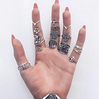 Tocona 14pcs/Set Vintage Antique Silver Rose SunFlower Liftree Finger Midi Knuckle Rings Set for Women Bohemia Jewelry 6391