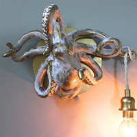 Octopus Wall Light Taxidermy Nautical Sconce Beach Cottage Sea Animals Seashore Decor Bare Bulb Brass Kids Room Resin HARDWIRED-MySecretLite
