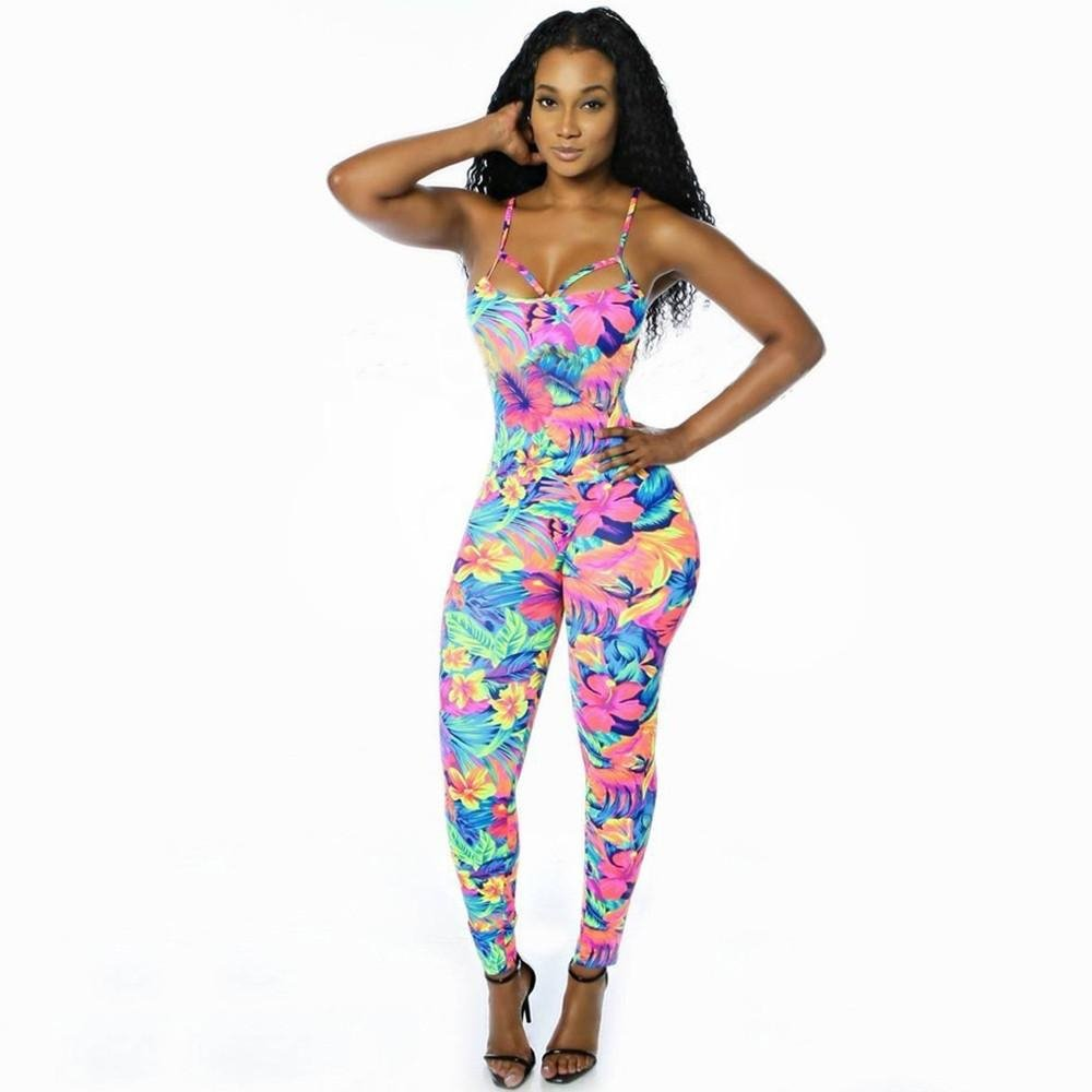 Image of Women Jumpsuit Rompers stretchy tropical floral print bodycon straps backless Overalls for women