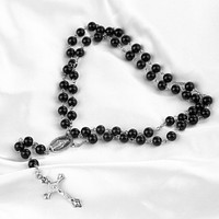 Black Beaded Long Rosary Religious Necklace