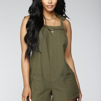 Not Coming Back Romper - Olive