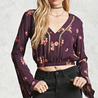 Bell-Sleeve Floral Crop Top