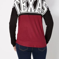 Burgundy Texas Color Block Top | Graphic Long Sleeve Tees | rue21