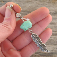 Feather Belly Ring, Zuni Bear Belly Button Ring, Tuquoise Magnesite Belly Piercing, Birthstone Personalized, Native American Jewelry,