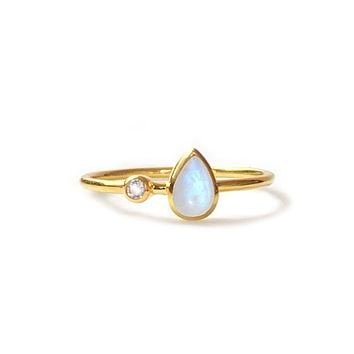 Rainbow Moonstone and Topaz Dew Drop Ring