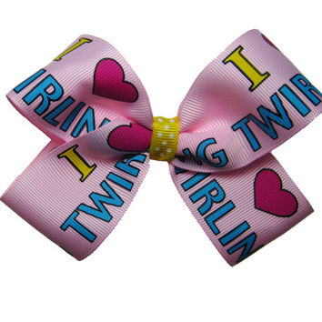 "Large Pink ""I Love Twirling"" Baton Hair Bow"