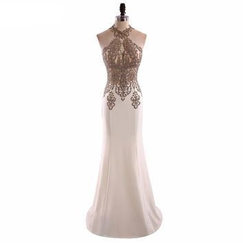 """Floor Length Halter Beaded Trumpet Prom Dress"" (CUSTOMIZABLE)"