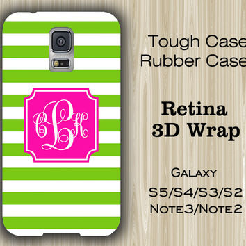 Teen Green Stripes Monogram Samsung Galaxy S5/S4/S3/Note 3/Note 2 Case