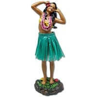 Leilani Hula Dashboard Doll - Hula Girl Posing with Pink Lei and Green Skirt