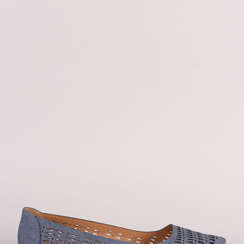 Qupid Perforated Pointy Toe Flats
