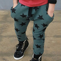 New Toddler Kids Boys Cotton Pants Star Pattern Harem Trousers Sports Pants for Boys 6M-4Y Bottoms NW