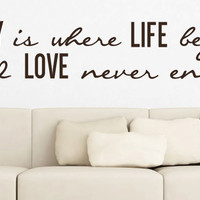 """Wall Vinyl Quote - Family Life Begins (60""""x 11"""")"""