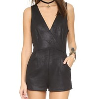 Coated Knit Black Moonlight Romper